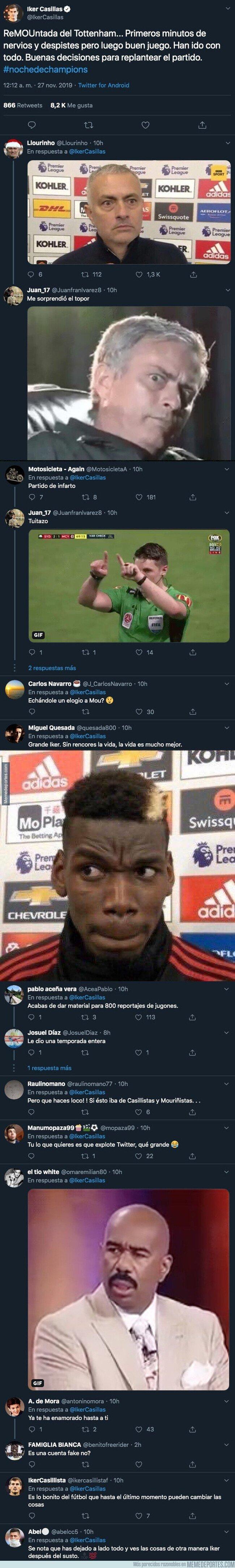 1092131 - Iker Casillas sorprende a todo el mundo tuiteando esto sobre Mourinho al terminar el partido del Tottenham en Champions