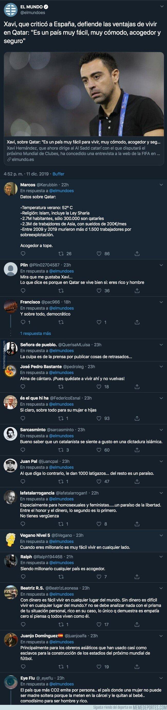 1093320 - Fuertes críticas a Xavi Hernández, ex-jugador del Barça, por decir todo esto sobre Qatar