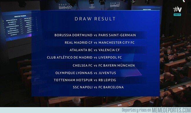 1093646 - Así queda el sorteo de octavos de final de la Champions League