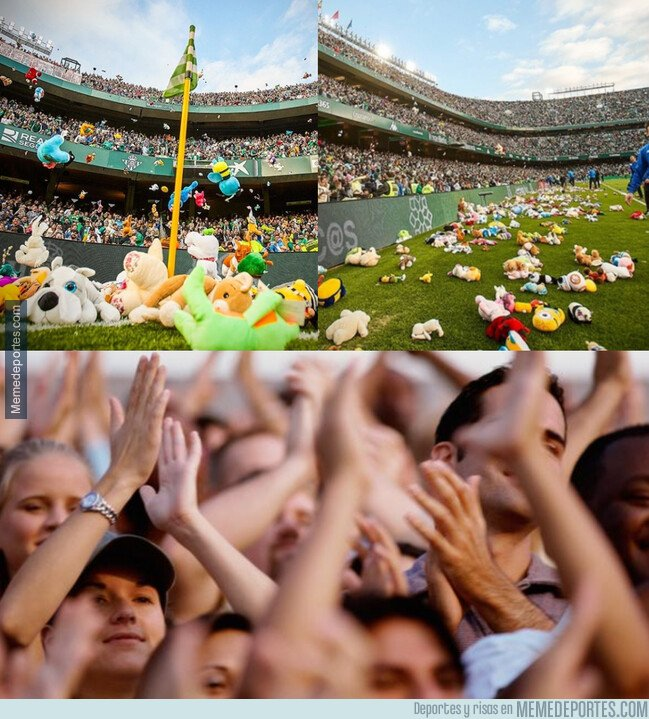 1094282 - El enorme gesto de la afición del Betis lanzando juguetes para los niños más necesitados