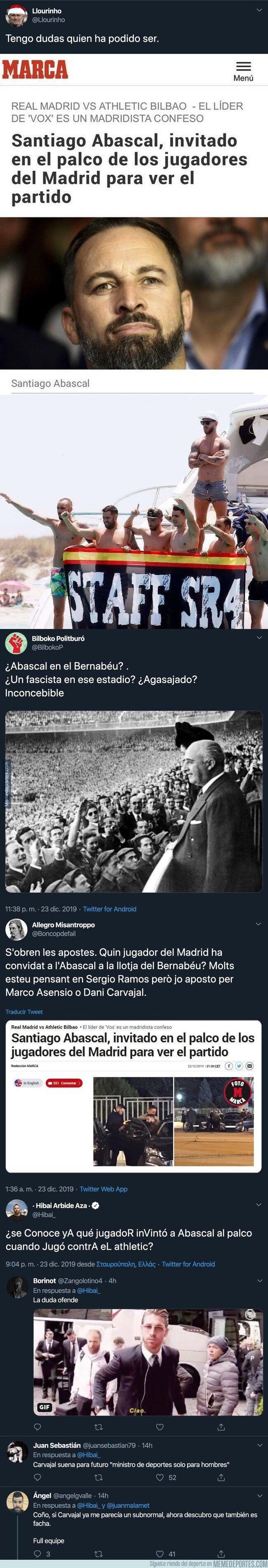 1094297 - Internet está intentando adivinar qué jugador del Real Madrid invitó a Santiago Abascal al palco del Bernabéu y tienen tres claros candidatos