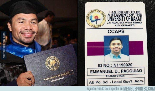 1094368 - Manny Pacquiao se graduó a los 40 de Ciencias Políticas. Me quedo sin excusas.