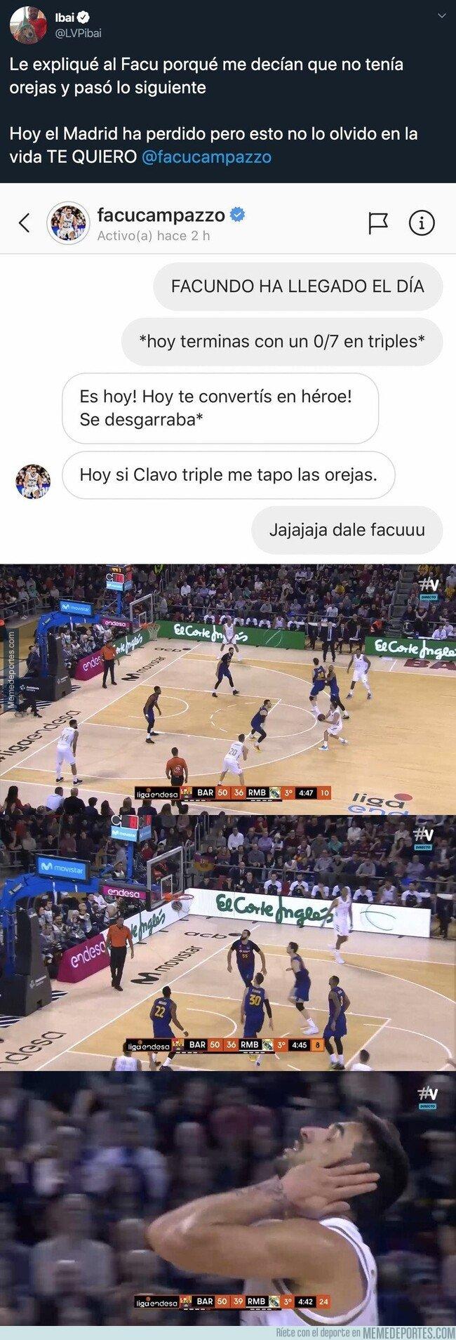 1094666 - Brutal: Facu Campazzo le dedica un triple a Ibai Llanos tras jugarse esto por Instagram antes del Clásico de baloncesto
