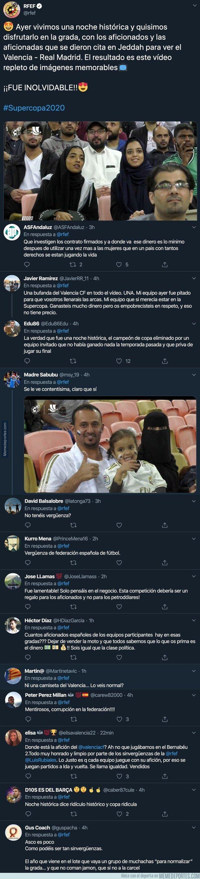 1095356 - La 'Real Federación española de Fútbol' habla de éxito en la celebración de la Supercopa en Arabia Saudí y le cae una lluvia de críticas con todos estos mensajes