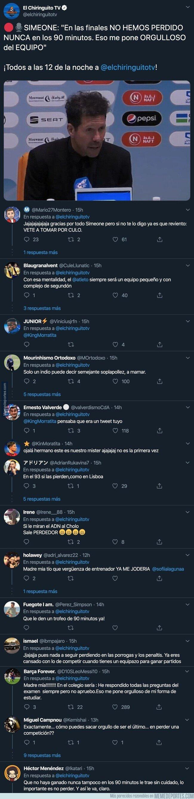 1095711 - La polémica frase que ha soltado Simeone tras perder contra el Real Madrid con la que están muy cabreados los colchoneros y los madridistas se están riendo