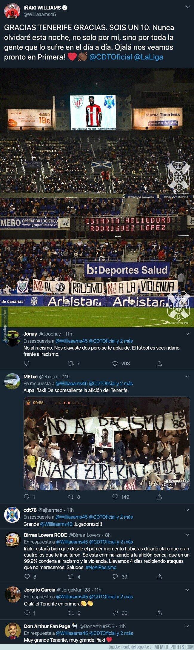 1097048 - El enorme gesto del Tenerife y todos sus aficionados con Iñaki Williams que no olvidará en la vida tras sufrir ataques racistas