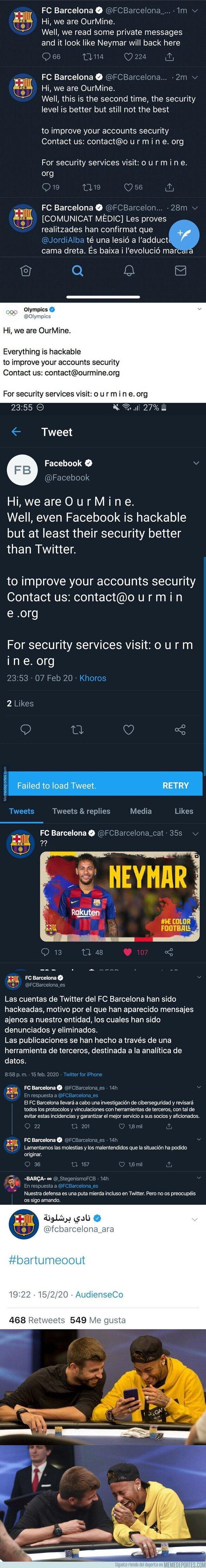 1098436 - Lío máximo en el Barça: hackean sus cuentas del Barça y publican todos estos mensajes sobre Neymar y Bartomeu