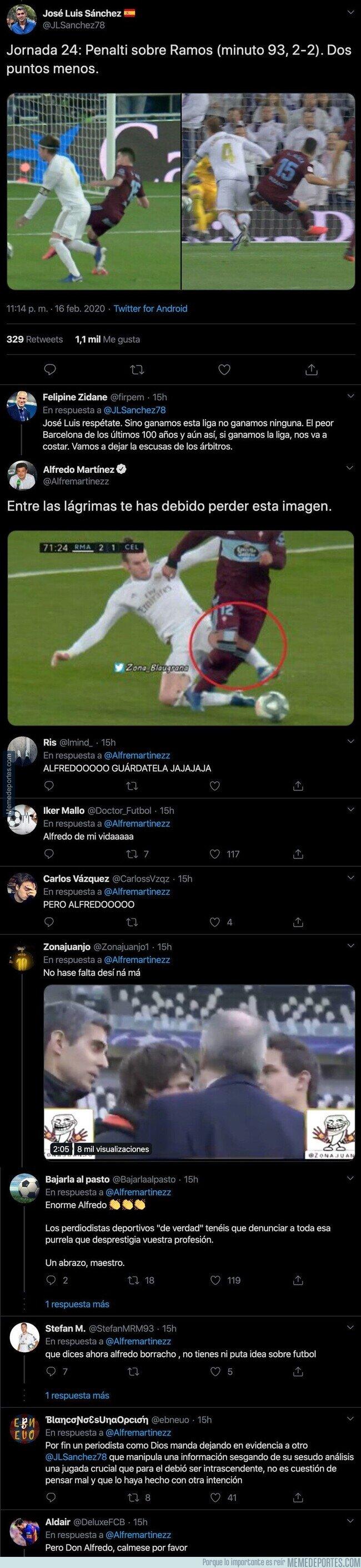 1098571 - El periodista Alfredo Martínez le da una respuesta descomunal a José Luis Sánchez tras quejarse del arbitraje al Real Madrid por un posible penalti