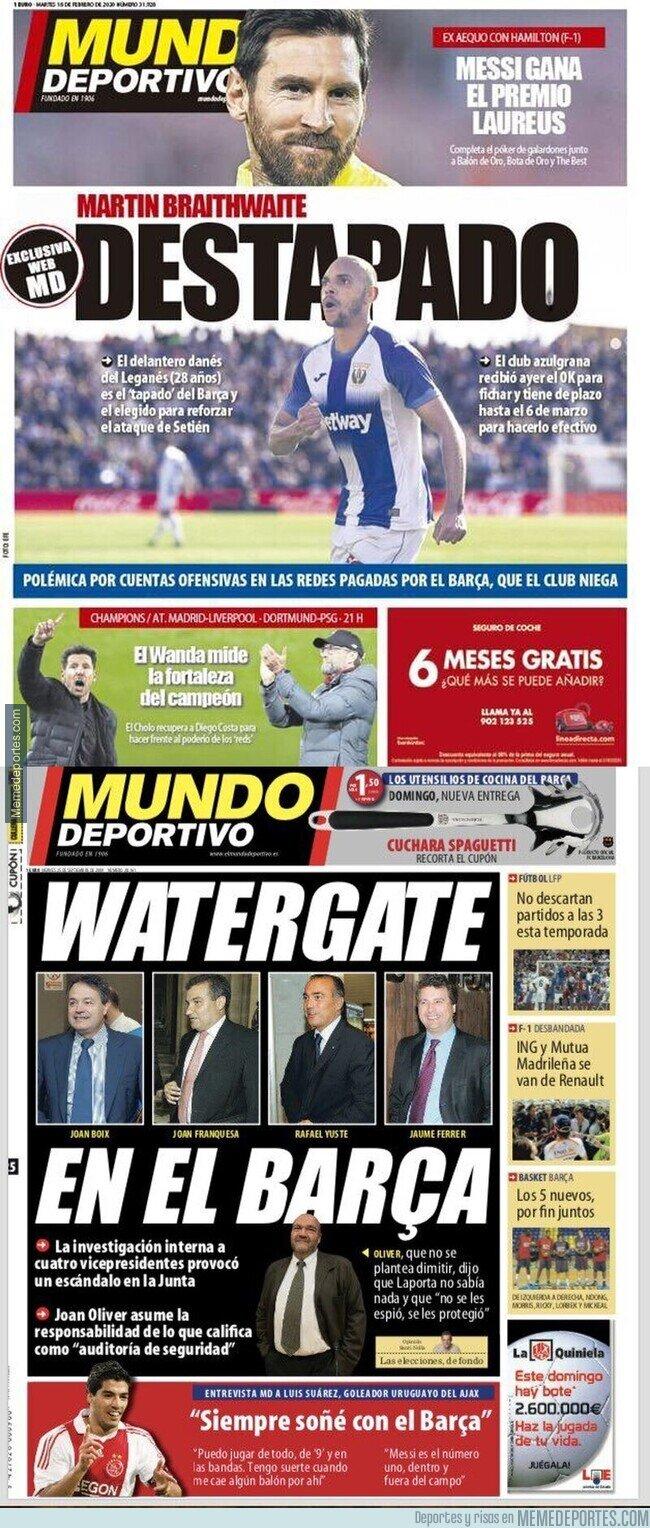 1098658 - El doble rasero increíble de 'Mundo Deportivo' cuando hay un escándalo en el Barça con Bartomeu y con Laporta