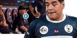 Enlace a La sospechosa cortina que le hacen a Maradona mientras un asistente le lleva un misterioso contenido. Todos mosqueados.