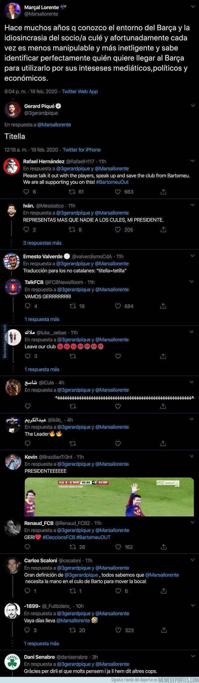 1098747 - El tuit descomuntal de Piqué dirigido a un periodista amigo de Bartomeu que deja claro que no hay nada de buena relación con el presidente del Barça