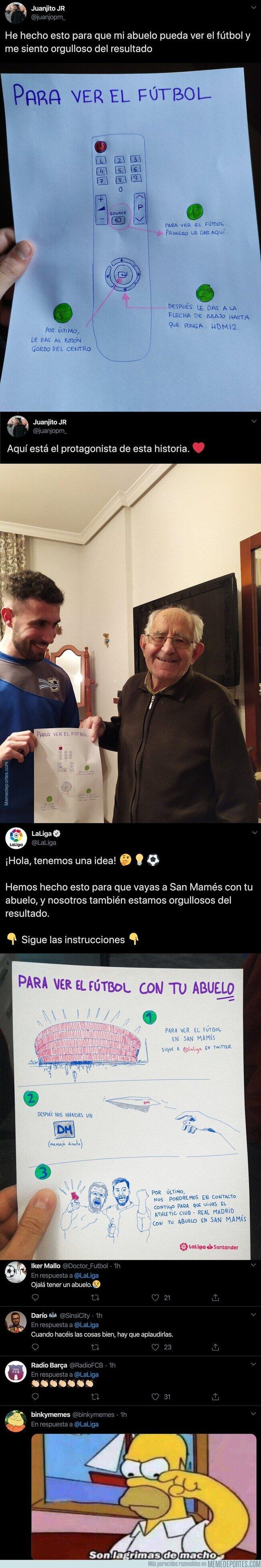 1098833 - El precioso gesto de LaLiga con este chico y su abuelo que le dibujó un mando para que pudiese ver el fútbol en la televisión