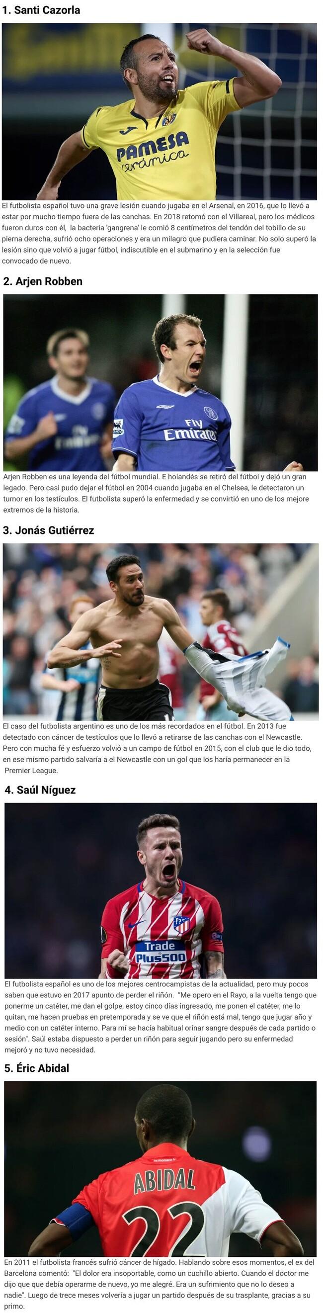 1098910 - Cinco futbolistas que vencieron una enfermedad y siguieron jugando