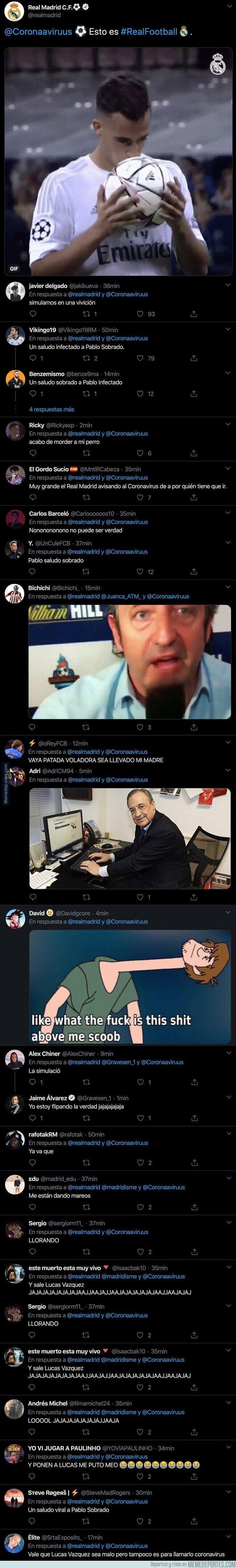 1099270 - Todo internet se está riendo por este tuit surrealista de la cuenta oficial del Real Madrid sobre Lucas Vázquez y el coronavirus