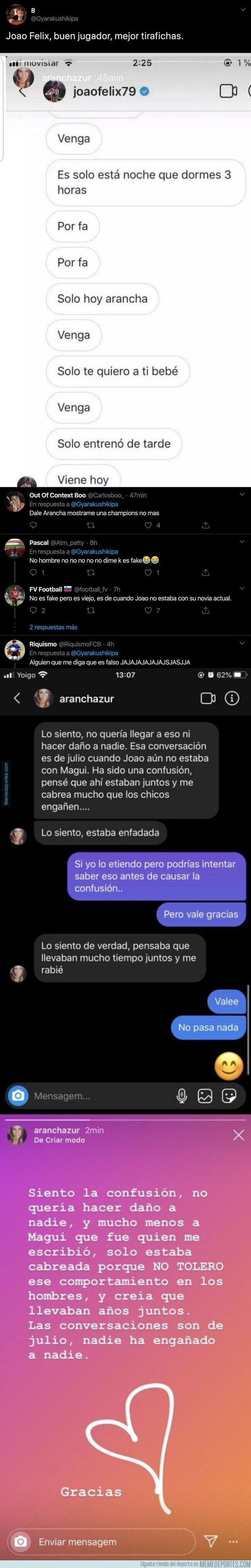 1099355 - Muy loco: se filtran unas conversaciones de Joao Felix con una chica por Instagram y todo el mundo está alucinando