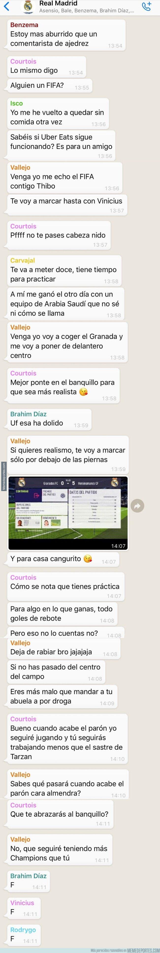 1101029 - El grupo de WhatsApp del Real Madrid durante estos días de cuarentena, por @deportes4parodia