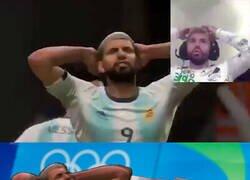Enlace a Kun Agüero, sincronizado con su personaje de FIFA 20