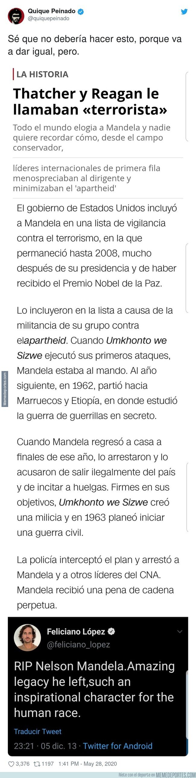 1105445 - Quique Peinado destroza por completo a Feliciano López recordándole este tuit sobre Nelson Mandela