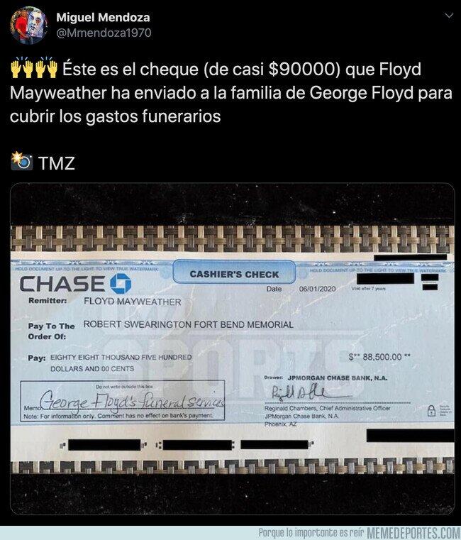 1105780 - Se filtra el cheque que Mayweather ha enviado a la familia de George Floyd para pagar los gastos del funeral