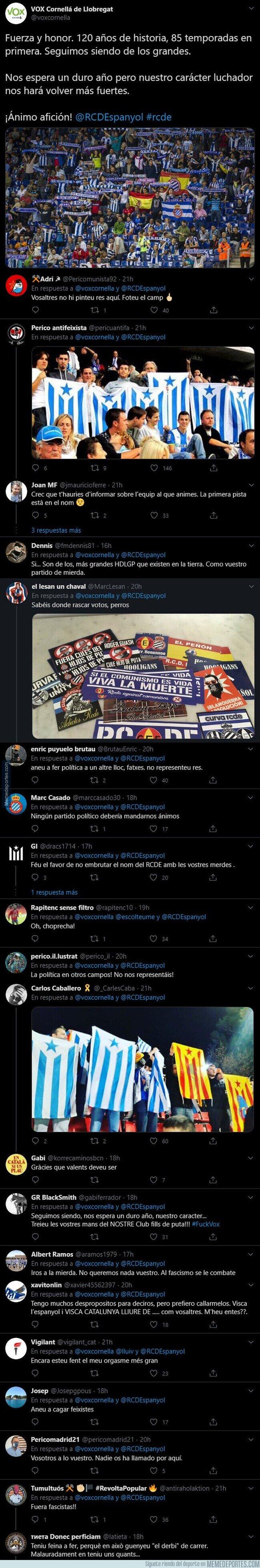 1109078 - Lío máximo con este tuit de VOX dirigido al Espanyol tras descender a Segunda División