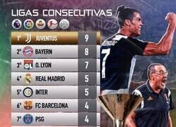 Enlace a La Juve se convierte en el equipo con más campeonatos consecutivos de las 5 grandes ligas, por @postutd