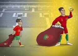 Enlace a Cristiano alcanza el centenar de goles con Portugal, por @zezocartoons