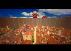 Enlace a Recreación en Minecraft de la ciudad del anime de moda ''Shingeki no kyojin''