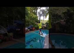 Enlace a Apuestan 100$ a que cruce la piscina por el listón de madera y lo que sucede duele mucho