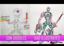 Enlace a ¡Este padre transforma los dibujos de su hijo en obras maestras!