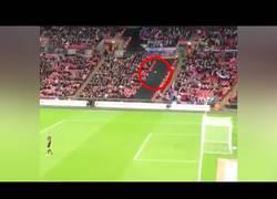 Enlace a Un fan de la selección inglesa marca un gol desde las gradas...¡con un avión de papel!