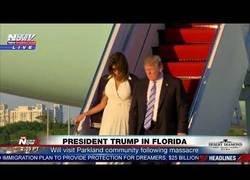 Enlace a Gran polémica al bajar del avión porque Melania se niega a darle la mano a Trump