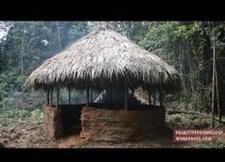 Enlace a Nuestro primitivo favorito nos vuelve a sorprender fabricándose una cabaña totalmente redonda