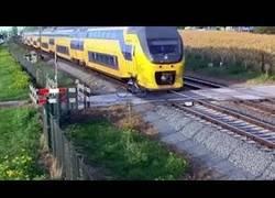 Enlace a Un ciclista se salva de ser arrollado por un tren por un milisegundo