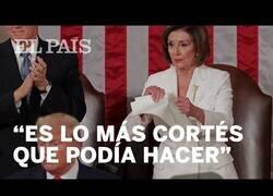 Enlace a Trump le niega el saludo a la presidenta de la cámara de EEUU Y ésta rompe su discurso