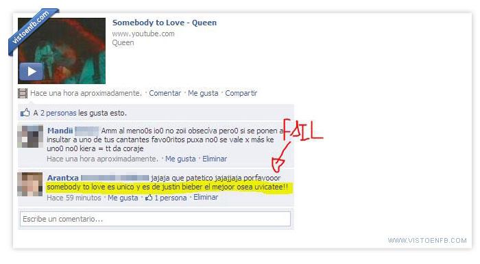 estupidez,estupidez humana,freddie mercury,ignorancia,justin bieber,musica,queen,somebody to love
