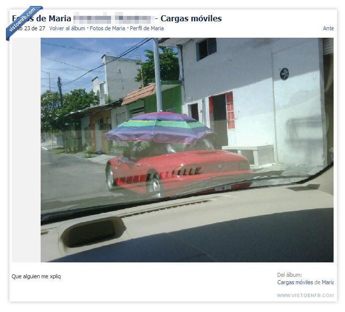 coche,descapotable,fail,fantasmas,nuevos ricos,sombrilla