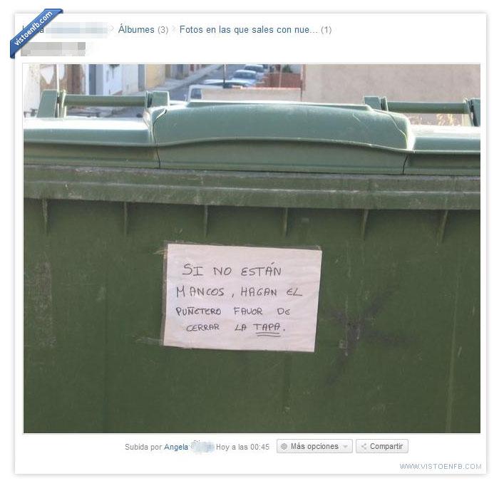basura,cartel,cerdos,contenedor,guarros,mancos,nota,tapa