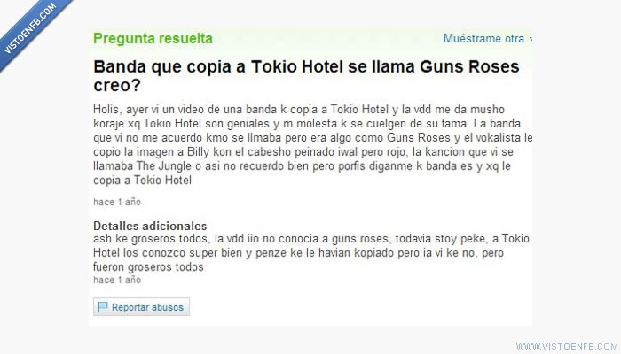 copia,guns n roses,ignorante,tokio hotel,yahoo respuestas