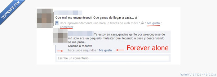 estado facebook,forever alone.,nadie contesta,Sola