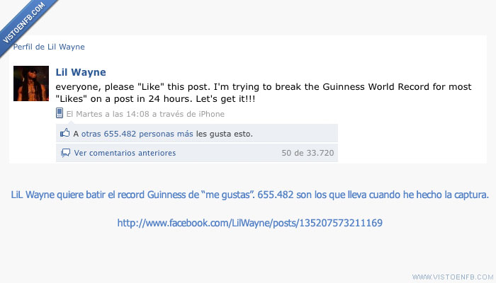 lil wayne,me gusta,record,record guinness