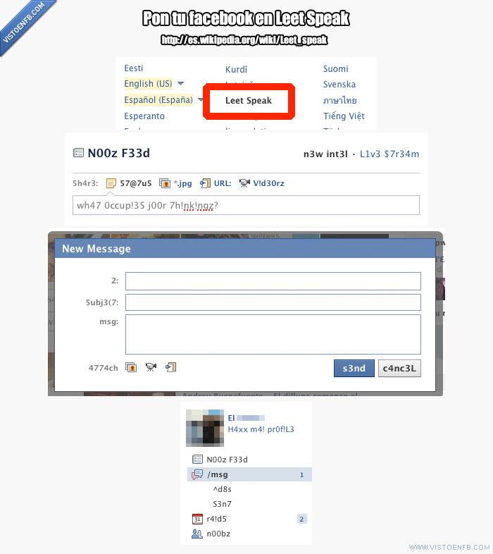 1337 5p34k,curiosidad,facebook,idioma,leet speak