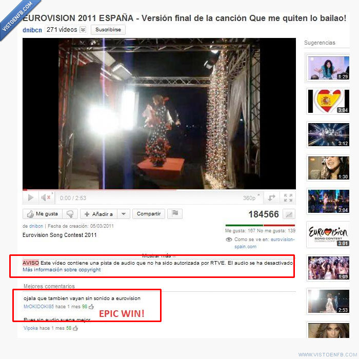 Epic win,Eurovisión,Youtube