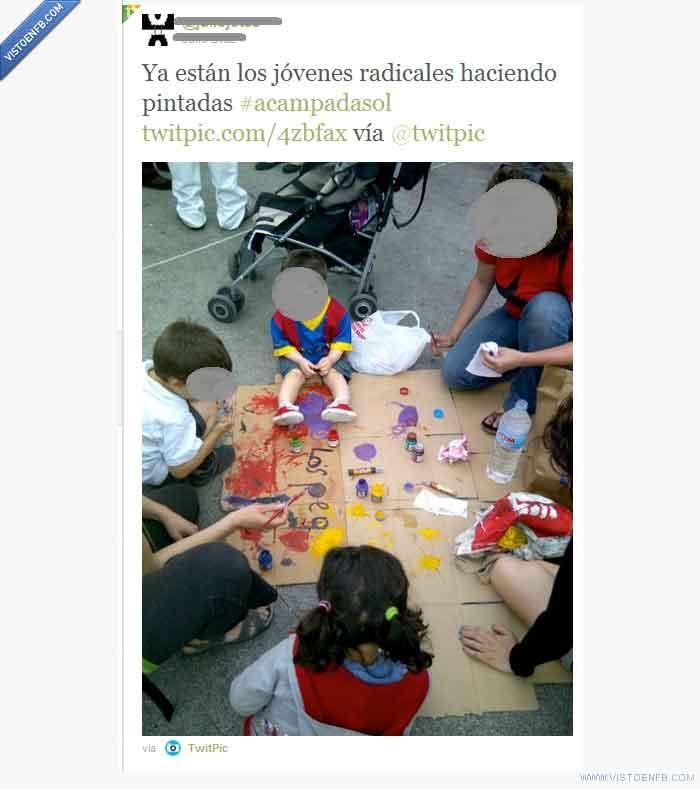 acampadasol,democraciarealya,jóvenes,pintadas,radicales