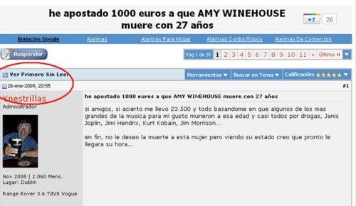 1000 euros,amy winehouse,apuesta,forocoches,muerte