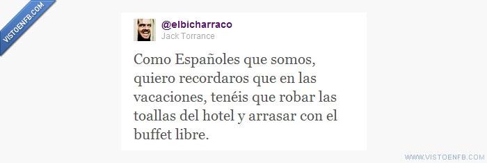 elbicharraco,españoles,hoteles,jack torrence,toallas