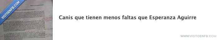 canis,Esperanza Aguirra,fail,faltas,ortografía