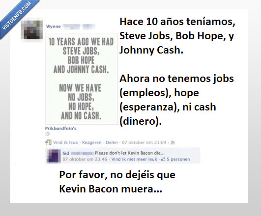 Bob Hope,Johnny Cash,Kevin Bacon,muerte,Steve Jobs