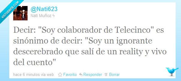colaborador,ignorante,reality,sinonimo,Telecinco,Twitter