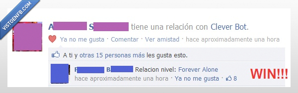 Clever Bot,Facebook,Forever Alone,nivel,Relacion,Win