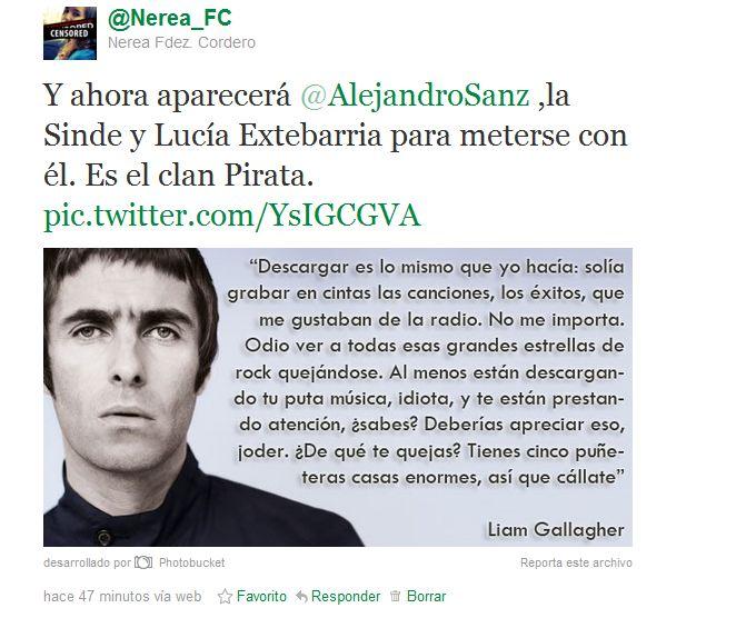 alejandro sanz,ley sinde,liam gallagher,lucía etxebarria,PIPA,SOPA